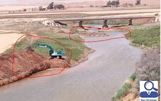الاحتلال التركي والمجموعات المرتزقة السورية تقطع مجرى نهر الخابور بعد حفر الخنادق وقطع المياه