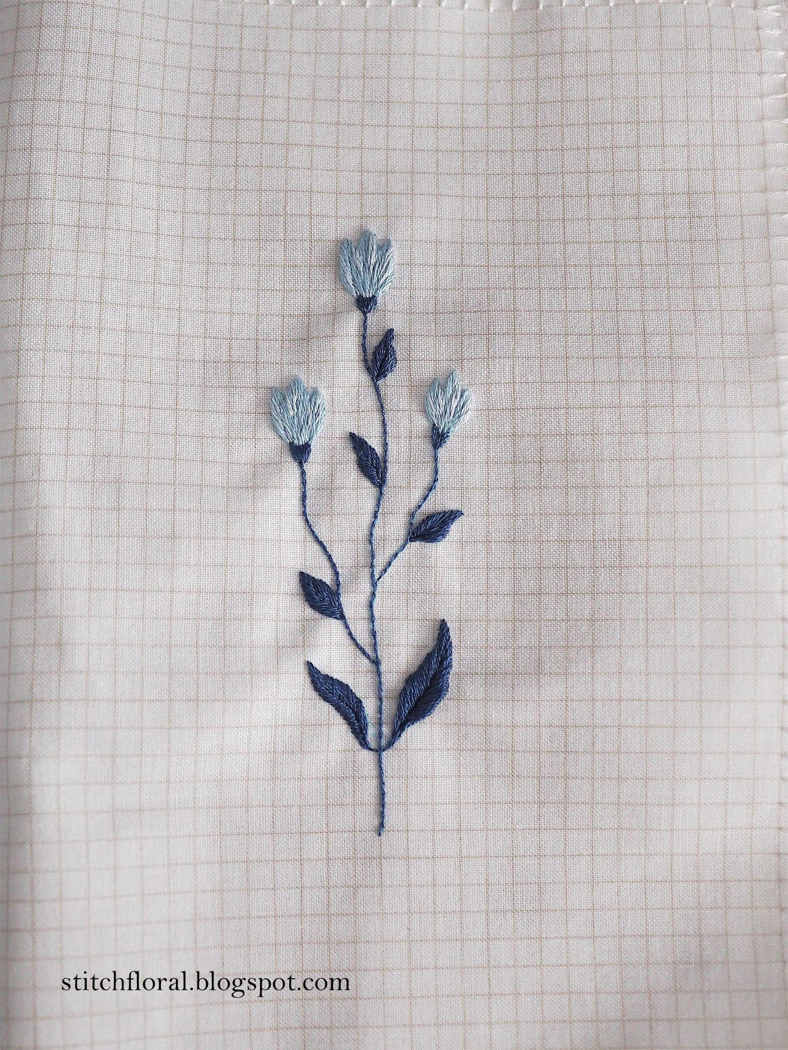 embroidery in blue colors
