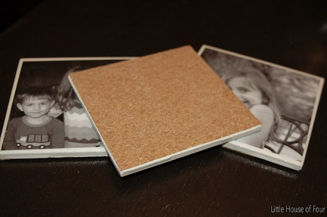 Glue cork to the back of tiles