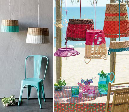 cestos coloridos, cesto de palha, cestos de vime, faça você mesmo, diy, decoração, decor, home decor, straw basket, luminária de palha
