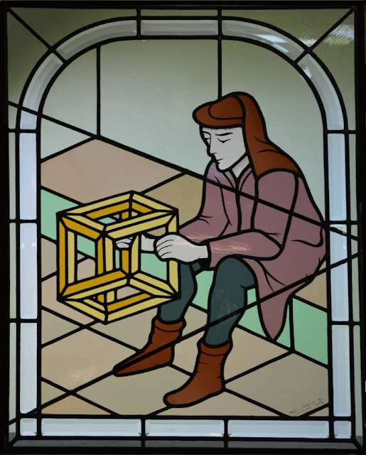 vitrail inspiré d'une gravure d'Escher- décoration intérieure, vitrail sur mesure, personnalisé, vitrail porte intérieure, vitrail au plomb