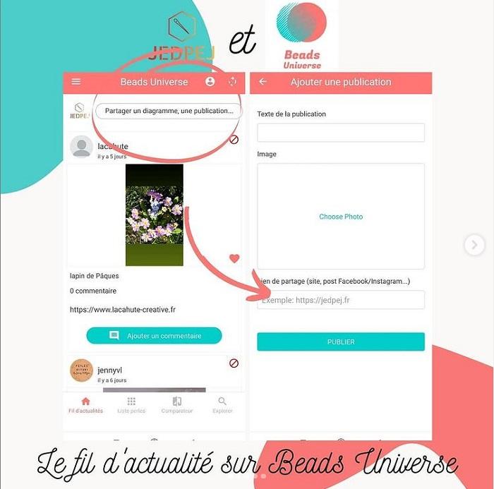 publier des posts dans l'application beads universe