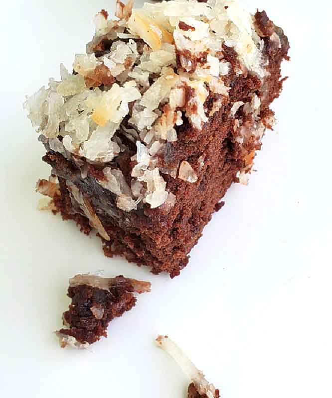 This is a German Chocolate Brownie with a coconut pecan topping