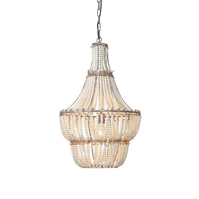 Jamie Young Blanca wood bead coastal chandelier