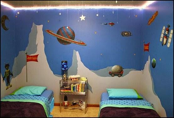 Dormitorios para ni os tema espacio dormitorios colores - Habitacion para 2 ninos ...