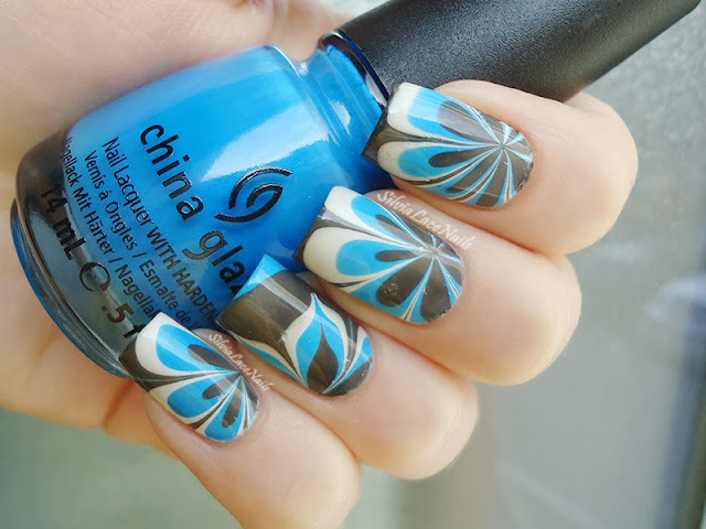 Silvia Lace Nails: blue, white, and grey water marble flowers