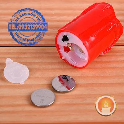 Nến điện tử mini màu đỏ tim lắc