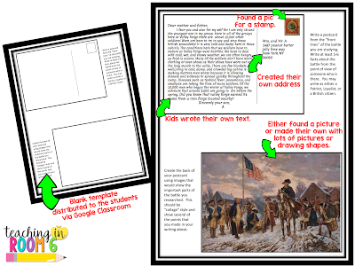 First person perspective using primary sources to create postcards from American Revolution Battles.