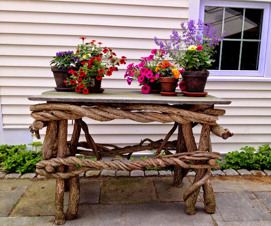 Hand made wood and stone outdoor table