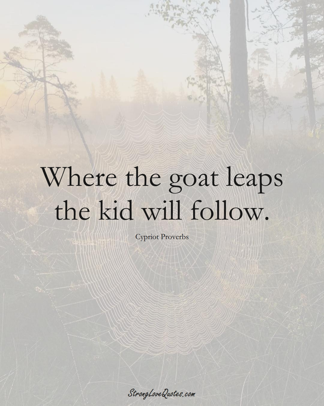 Where the goat leaps the kid will follow. (Cypriot Sayings);  #MiddleEasternSayings