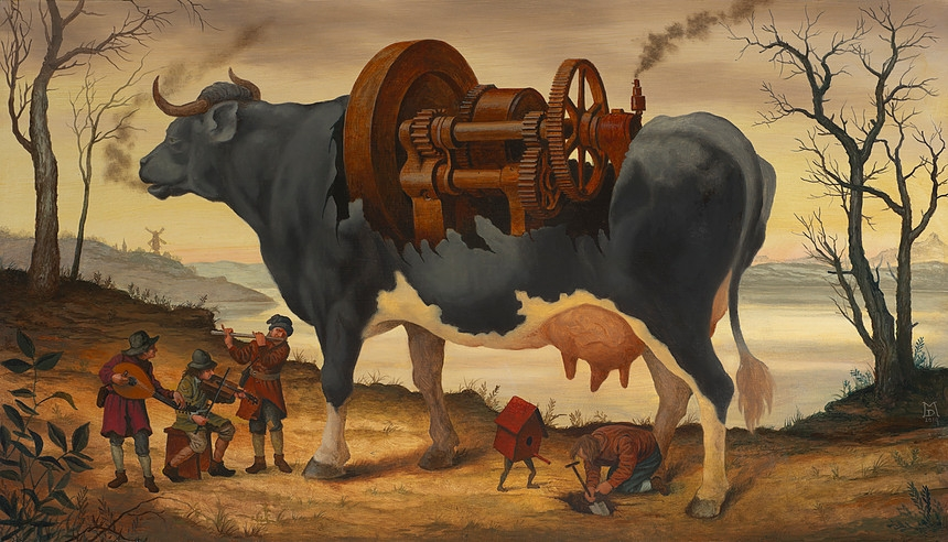 13-The-Squeaky-Wheel-Mike-Davis-Surreal-Paintings-that-hide-a-lot-of-Symbolism-www-designstack-co