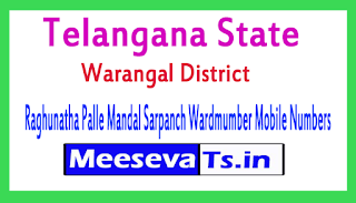 Raghunatha Palle Mandal Sarpanch Wardmumber Mobile Numbers List Warangal District in Telangana State