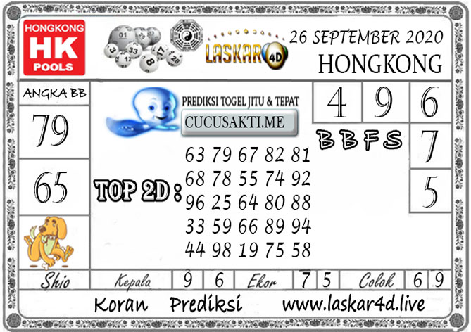 Prediksi Togel HONGKONG LASKAR4D 26 SEPTEMBER 2020