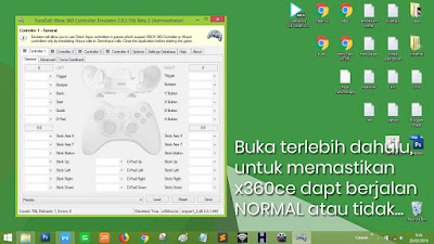 Buka x360ce, kemudian pasan gamepad yang kamu gunakan