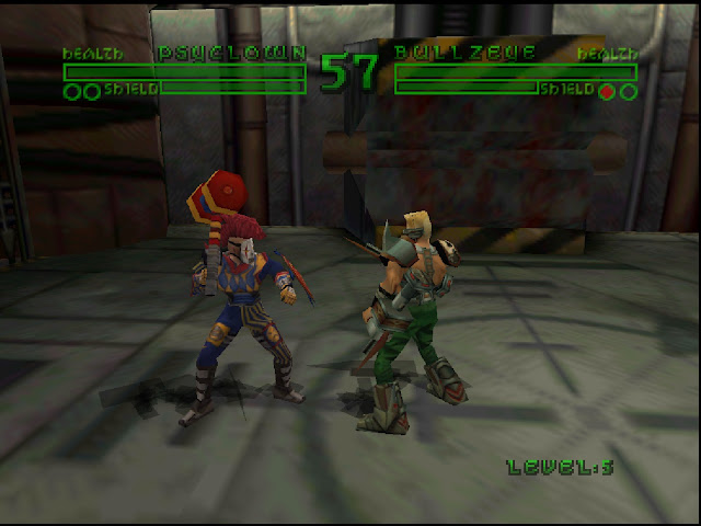 A cyborg clown and android soldier fight in a dreary dungeon.