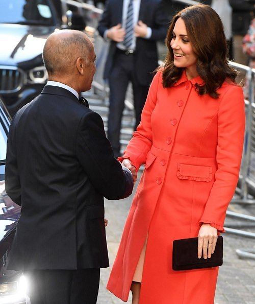 The Duchess of Cambridge is wearing today Bodenclothing Lena Frill Coat, Kate Middleton wearing Boden Lena Frill Coat and Tod's pumps at Bond Primary School