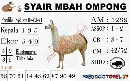 Syair Mbah Ompong Sydney Kamis 04-Mar-2021