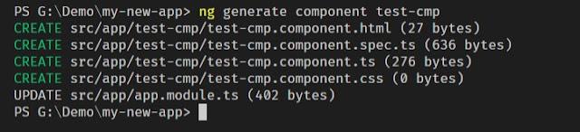 Angular 7 New Component using Angular CLI