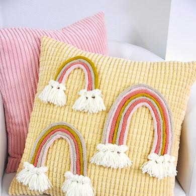 DIY Boho Macramé Rainbow using a Knitting Machine