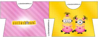 Tarjeta con forma de camisa de Minions Chicas.