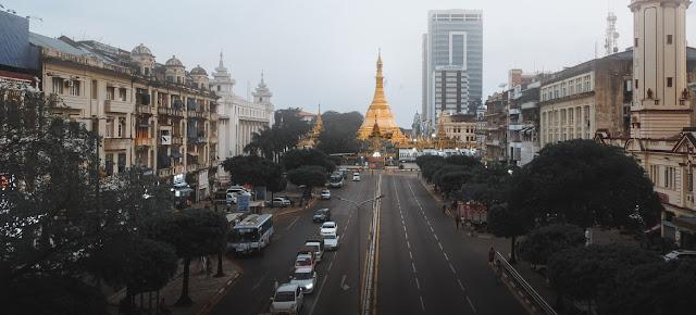 La pagoda Sule en el centro de Yangon, el centro comercial de Myanmar.Unsplash/Justin Min