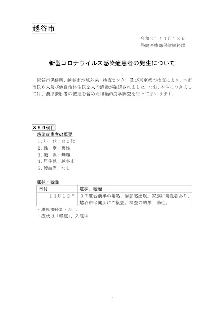 新型コロナウイルス感染症患者の発生について(11月13日発表)