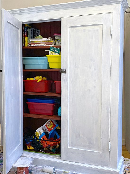 Painting a Farmhouse Office Storage Cabinet