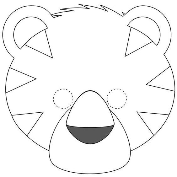 Tranh tô màu mặt nạ con hổ