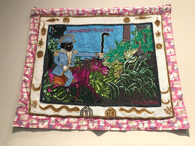 Toussaint Louverture by Myrlande Constant impressed with intricate beadwork and vibrant colors.
