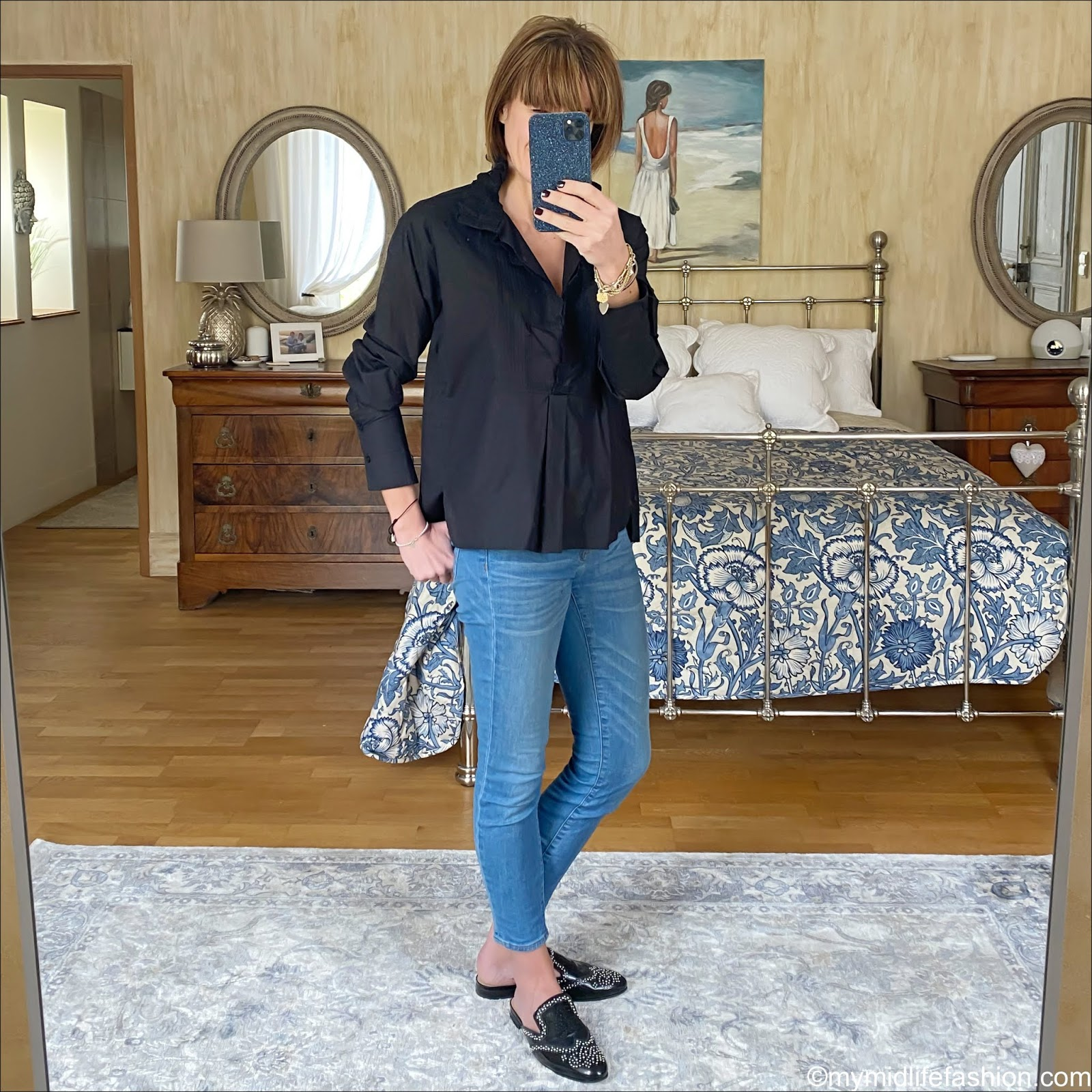 my midlife fashion, Isabel Marant Etoile blouse, j crew sip on mules, j crew 8 inch toothpick jeans
