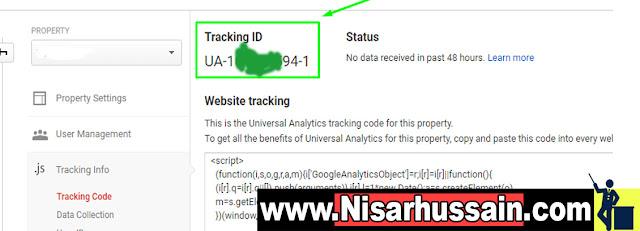 Tracking ID of Google Analytics