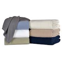 stack of fleece hotel blankets