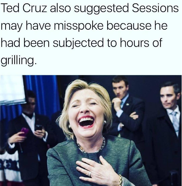 Sessions Meme Ted Cruz defends Session saying he'd been there too long.  Hillary Clinton laughs.