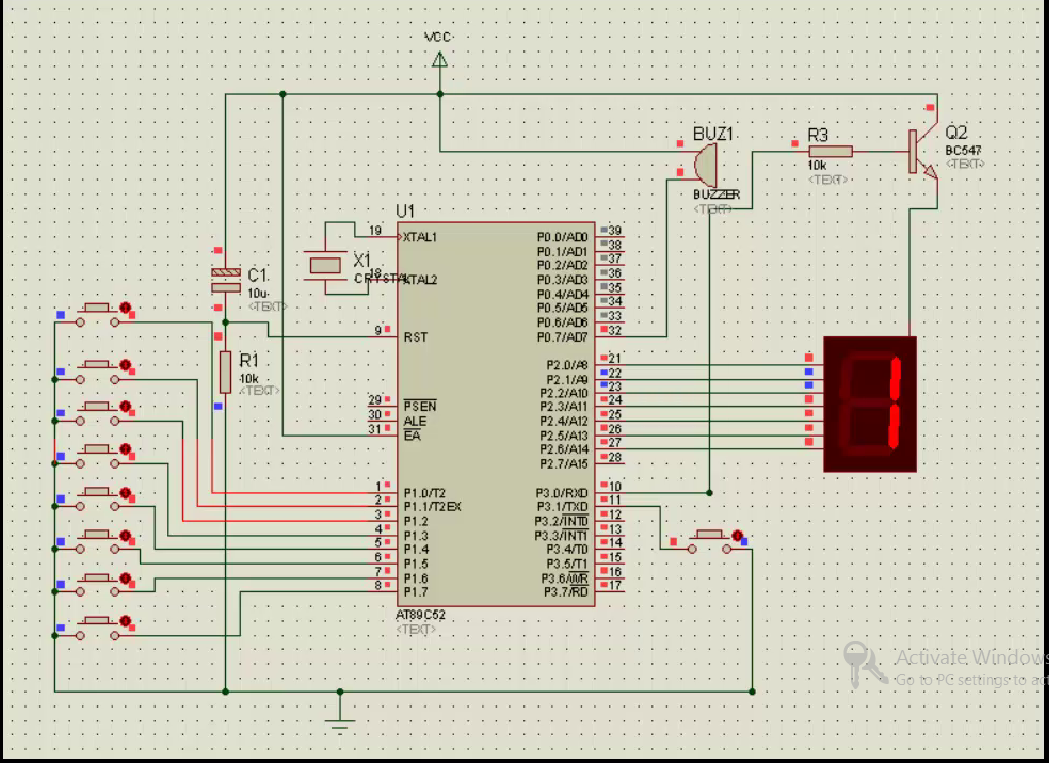 hight resolution of  as soon as the first buzzer is pressed this quiz buzzer can be used for a maximum of eight teams it is build around 8051 microcontroller at89c51
