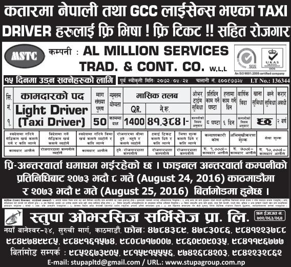 Free Visa, Free Ticket Jobs For Nepali In Qatar Salary- Rs.41,384/