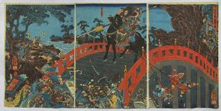 歌川国芳 三国志長坂橋の図の浮世絵版画販売買取ぎゃらりーおおのです。愛知県名古屋市にある浮世絵専門店。
