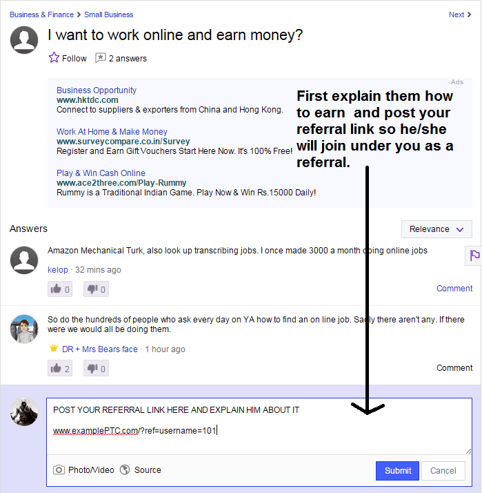 Answering Yahoo Answers with referral link