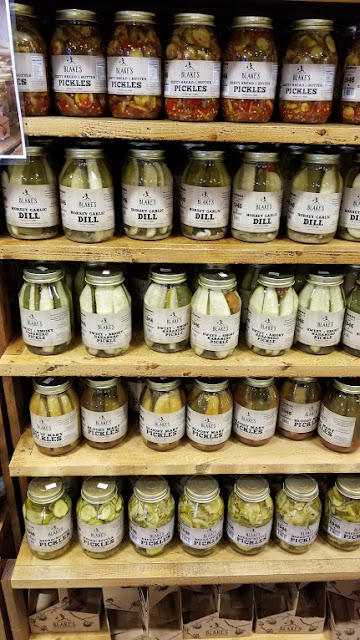 Selection of pickles at Blake's ... Bloody Mary pickles! Garlic pickles! Habanero!