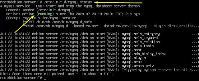 cek status mysql server