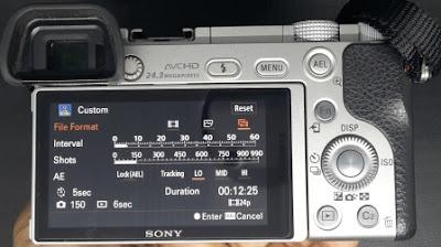Pengaturan interval, shots, file format dan tracking AE Pada Pembuatan Video Timelapse Menggunakan Sony A6000