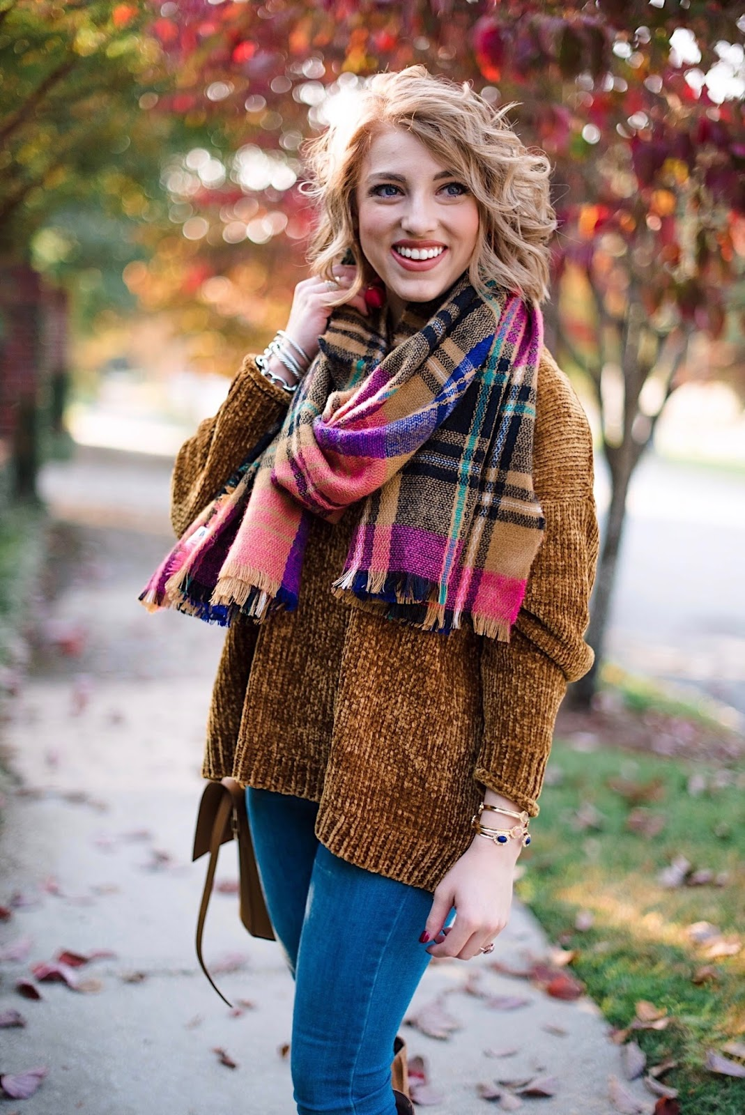 Chenille Sweater & Plaid Scarf - Something Delightful Blog