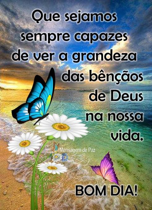 Que sejamos sempre capazes   de ver a grandeza das bênçãos   de Deus na nossa vida.  Bom Dia!