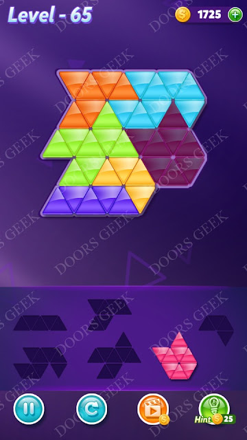 Block! Triangle Puzzle 6 Mania Level 65 Solution, Cheats, Walkthrough for Android, iPhone, iPad and iPod