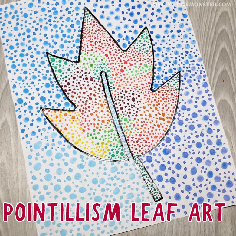 pointillism leaf art for kids
