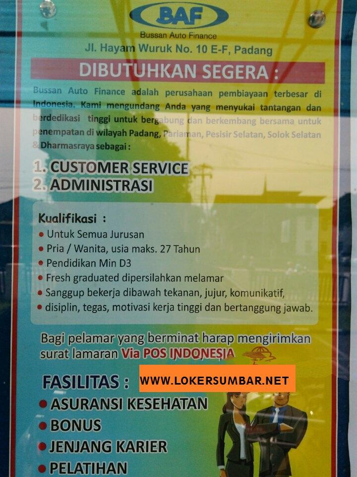 Lowongan Kerja di Padang – Bussan Auto Finance – 2 Posisi (Februari 2017)