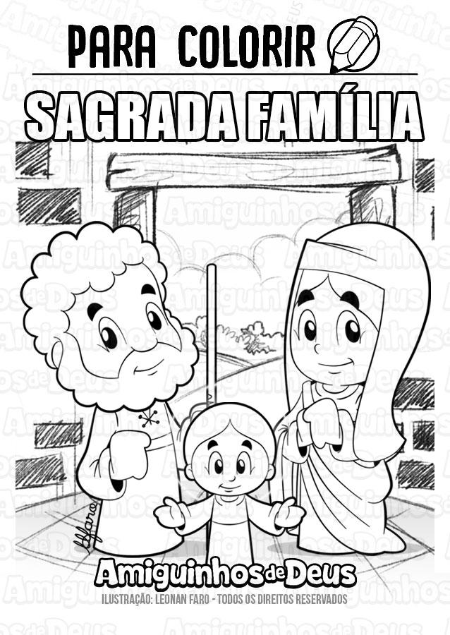 sagrada familia desenho para colorir