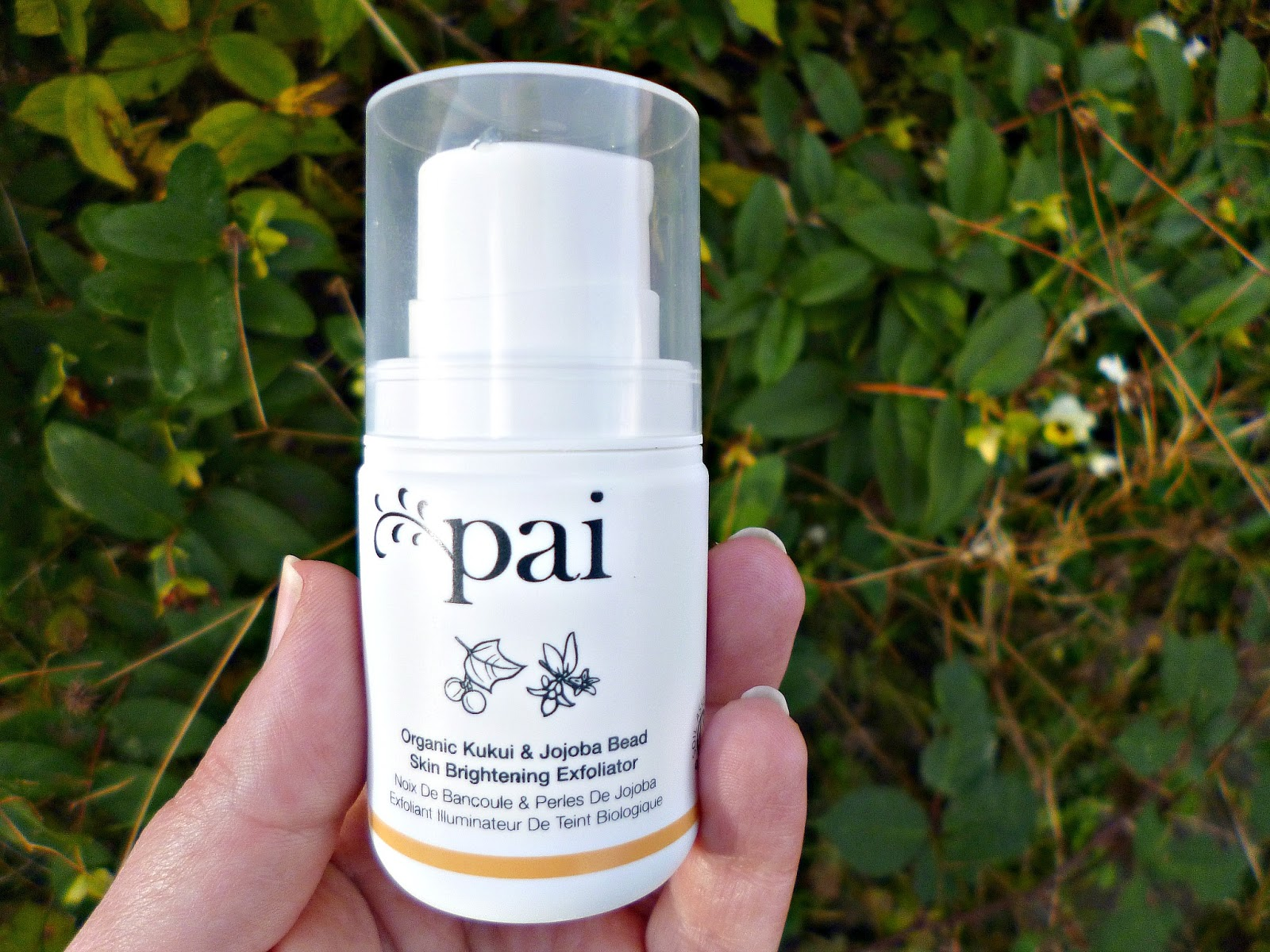 At home facial with the Pai Kukui and Jojoba bead brightening exfoliator