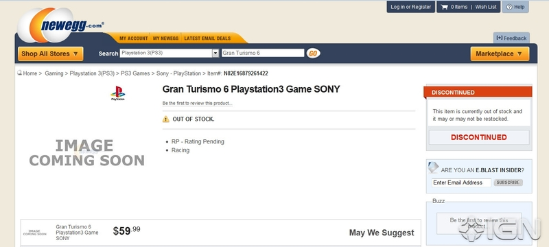 Gran Turismo 6 Spotted on Newegg