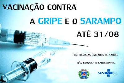 Município vacina contra o Sarampo e contra a Gripe até 31 de agosto