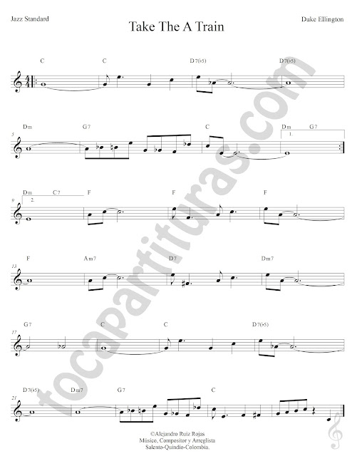 Take The A Train Jazz Standard de Duke Ellington Partitura Fácil con Acordes Take The A Train Easy Sheet Music with Chords